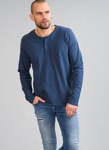 People By Fabrika V Yaka Düğmeli Tişört İndigo